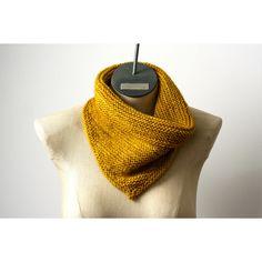 Saffron Gold Hand Knit 100% Merino Wool Bandana Cowl Triangle Infinity... ($58) ❤ liked on Polyvore featuring men's fashion, men's accessories, mens handkerchief and mens bandana