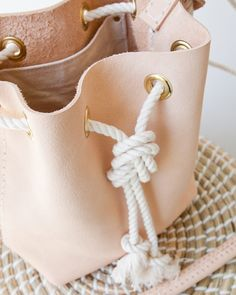 Mini Bucket Bag Nude Leather Crossbody
