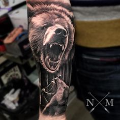 By Jonny Gilbert - By Jonny Gilbert - Leg Tattoo Men, Leg Tattoos, Sleeve Tattoos, Tattoos For Guys, Cool Tattoos, Animal Sleeve Tattoo, Animal Tattoos, Forrest Tattoo, Grizzly Bear Tattoos