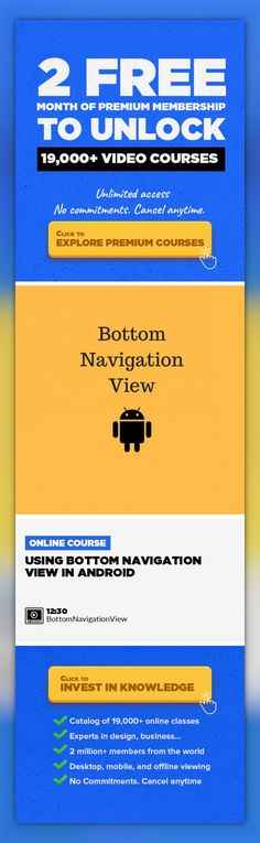 Using Bottom Navigation View in Android Technology, Mobile Development, Mobile Design, Java, Android, Coding, App Design, Programming Languages #onlinecourses #onlineeducationinfographic #onlineeducationquotes   In this class, we learn how to use Bottom Navigation View in Android Apps.