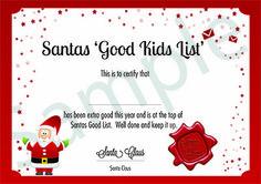 Santas 'Good List' certificate - from Magic Santa Mail. www.magicsantamail.com