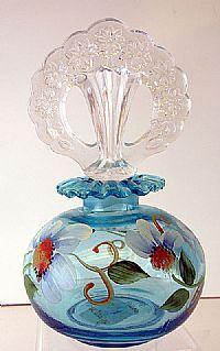 Fenton Art Glass - 6-1/2'' Copper Blue Perfume with Kim Barley Design