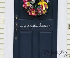 Welcome Home Front Door Decal  Script Lettering Welcome Front