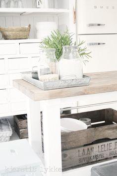 the gorgeous kitchen of the lovely Kjerstis from the blog Kjerstis Lykke I adore the bleached wood against the white and ohh for a cream Smeg fridge freezer!!!