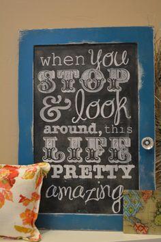 Chalkboard Cheat Tutorial--get the look of chalkboard art using scrap vinyl as a stencil! so pretty!