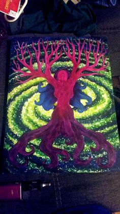 Tree of life Goddess green galaxy A pagan, Wiccan, and celtic inspired painting.   I merged the symbols of the celtic tree of life and the goddess symbol together to form a symbolic merge of the God and the Goddess. Painted in deep purples, Magenta, Maroon.  On top of a rich yellow, and green spiral galaxy fading into a deep cobalt blue of space.