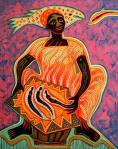 """Cameroon: Fish"" by Betty LaDuke"