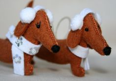 Daschunds with Ear warmers and scarves! Jello Teckel Collection by jello07 on Etsy