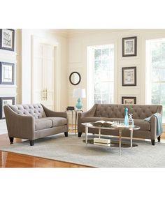 Chloe Fabric Velvet Metro Sofa Living Room Furniture Collection - Living Room Furniture - furniture - Macy's