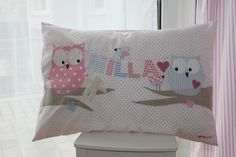 """Pillow - Cuddly Pillow """"Small World"""" by name - a unique product by milla-lou . Cute Cushions, Decorative Cushions, Owl Crafts, Baby Crafts, Baby Pillows, Throw Pillows, Owl Cushion, Applique Pillows, Round Pillow"""