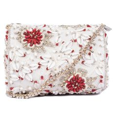 Ruche & Hues Red Splash Duffle White/Red Bag (20.775 RUB) ❤ liked on Polyvore featuring bags, handbags, red hand bags, glitter purse, white hand bags, white beaded purse and floral print purse