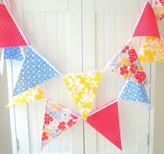 Party Banner, Bunting, Fabric Pennant Flags, Flowers, Wedding Garland, Polka Dots, Red, Blue, Yellow, Birthday Party, Wedding, Baby Shower