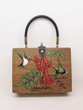 Vtg Enid Collins Texas Humdingers Wood Box Bag Purse Bristow Signed Hummingbirds