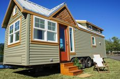 Tess: a stunning modern/rustic tiny home, available for sale from TruForm Tiny Homes.