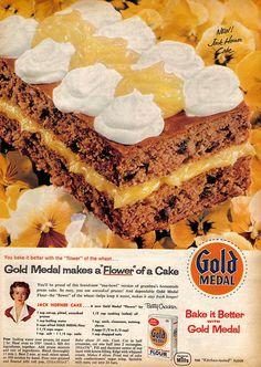 "Vintage Ad Betty Crocker Makes a ""Flower"" of a Cake Retro Recipes, Old Recipes, Cookbook Recipes, Vintage Recipes, Sweet Recipes, Family Recipes, Delicious Recipes, Easy Recipes, Dessert Recipes"