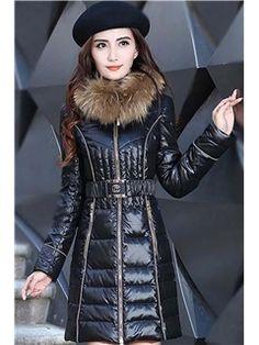 Long Section Thick Fur Collar Slim Down Coats