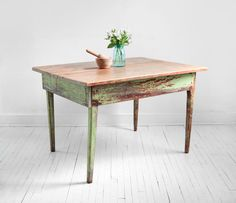 Vintage Wood Farm Dining Table - Mid Century, Modern, Rustic, Shabby Chic. $495.00, via Etsy.