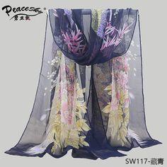 2015ファッション花孔雀ビーチスカーフシフォンジョーゼット絹のスカーフ女性の春と秋ビーチスカーフ