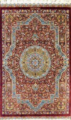 Qum Jamshidi Red Silk Persian Rug - Item# HF-1439  Size: 80 x 135 (cm)      2' 7 x 4' 5 (ft)