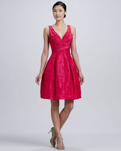 Sleeveless V-Neck Jacquard Party Dress by Theia at Neiman Marcus.