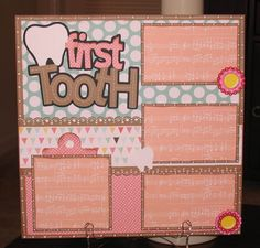 15 Super Ideas For Baby First Tooth Scrapbook Layout Baby Boy Scrapbook, Pregnancy Scrapbook, Baby Scrapbook Pages, Scrapbook Page Layouts, Scrapbook Paper Crafts, Scrapbook Cards, Scrapbooking 101, Scrapbook Titles, Scrapbook Designs