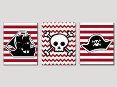 Pirate Nursery Art Pirate Ship Pirate's Hat by NauticalDecorShop, $23.00