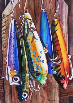 A-Lure-ing by Lori Pitten Jenkins, Watercolor, 20 x 14 Watercolor Fish, Watercolor Paintings, Watercolors, Fish Paintings, Fish Artwork, Fishing Lures, Fishing Bobbers, Fishing Hole, Fishing Knots