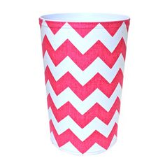 Pink chevron wastebasket.      Product: Wastebasket  Construction Material: Canvas and plastic  Color...