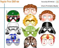 ON SALE Unique Comic Stars Printable Masks,party mask,birthday,wars heroes,space star,photo booth props ,kids mask,kids dress up play,party
