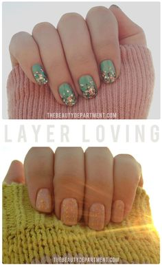 Doable Nail Art - use those holiday glitter shades over springtime or summer colors for a fresh take