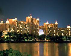 Atlantis Resort, Paradise Island Bahamas, at night.
