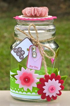 A quick and easy to make gift jar to fill with chocolate, candy, tea bags, a sewing kit, anything!