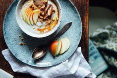 Ontbijtjes om te lepelen (die geen havermout zijn) Tahini, Nom Nom, Brunch, Pudding, Eggs, Breakfast, Healthy, Ethnic Recipes, Desserts