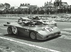After Porsche dropped out of the World Sportscar Championship in 1972 Elford got a ride with Alfa Romeo.  He is pictured here in the #32 Alfa Romeo T33/TT/3 with teammate Andrea de Adamich piloting the #34 Alfa.  Lou Galanos photo.