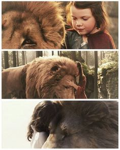 Lucy hugging Aslan from all of the movies