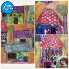 The Silent Village - mixed media painting collage, acrylic naive expressionism painting folk art Easter Paintings, Colorful Paintings, Painting Collage, Mixed Media Painting, Virtual Museum, Paul Klee, Fluid Acrylics, Naive, Expressionism