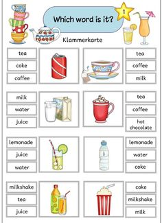 "Various FA materials ""drinks"" I have a few more on the English topic ""drinks"" . - Various FA materials ""drinks"" For the English topic ""drinks"" I have created some free-lance materia - English Worksheets For Kids, English Lessons For Kids, Kids English, English Activities, Preschool Learning Activities, English Words, Learn English, Teaching English Grammar, English Writing Skills"