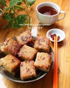 广式腊味萝卜糕 Sbar, Dim Sum, Chinese Food, French Toast, Pork, Breakfast, Cake, Recipes, Cooking