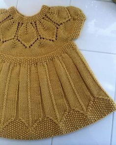 Best 11 Ravelry: aquilterknits' Dottie's Petal Dress Girls Knitted Dress, Knit Baby Dress, Knitted Baby Clothes, Baby Cardigan, Knitting For Kids, Crochet For Kids, Knit Crochet, Baby Dress Patterns, Baby Knitting Patterns