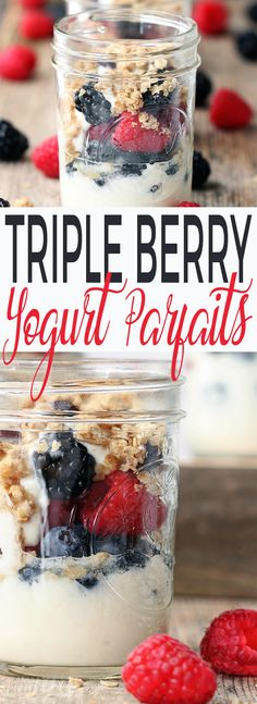 These Triple Berry Yogurt Parfaits are simple, requiring just 4-ingredients and come together in about 5 minutes. Easy, grab-n-go jars of perfection with honey, yogurt, berries and granola. via @Simply Sissom
