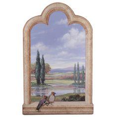 Cypress Trees Window Scene Wall Art Plaque