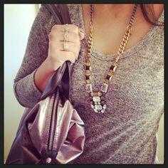 Gold, Crystal & Black Stone Statement Necklace   Phoenix Pendant   Stella & Dot