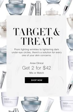 Target and Treat - there is a solution for every of your skin concern - from wrinkles to dark under-eye circles. What is your concern?  Look up the solution @ https://maromire.avonrepresentative.com?utm_content=bufferab4c9&utm_medium=social&utm_source=pinterest.com&utm_campaign=buffer #skincare #anew #wrinkles #undereye #treatment #puffiness #