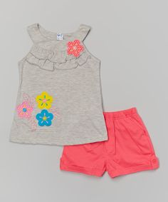 Love this Gray Floral Yoke Tank & Pink Shorts - Toddler & Girls by Littoe Potatoes on Baby Girl Dresses, Baby Dress, Baby Girl Fashion, Kids Fashion, Kids Girls, Toddler Girls, Baby Kids Clothes, Pink Shorts, Baby Sewing