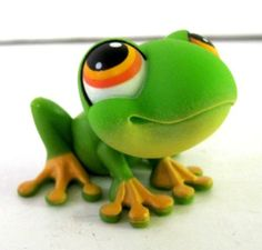 Littlest Pet Shop Green Frog Figure 50 Orange Eyes | eBay