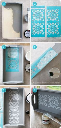 Stencil painted tray - by Craft & Creativity Home Crafts, Fun Crafts, Diy And Crafts, Arts And Crafts, Recycler Diy, Painted Trays, Wooden Trays, Decoupage Art, Stencil Painting