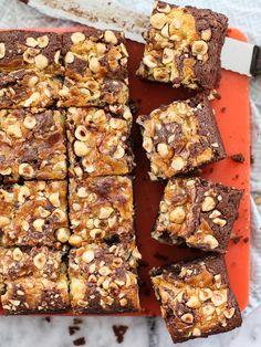 Swirled Mascarpone Brownies with Hazelnuts on foodiecrush.com