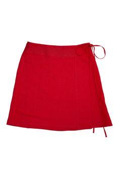Season Mini Wrap Linen Skirt - Red