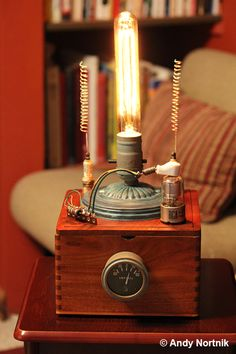 Man Cave Desk Lamp in classic Steampunk Style by Steampunk Artist Andy Nortnik. An AWESOME gift for the guy who has everything! Lamp Design and Photography © Andy Nortnik http://steampunkartist.wix.com/steampunk#!curiosity-boxes/c1x7o