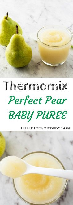 Thermomix Sweet Pear Baby Puree - Pears are another popular, wonderful beginner food for baby. It was the first fruit puree I offered my Little Thermie Baby, who gobbled it up with glee. Pear puree is nourishing for your baby as well as it is full of fibre, potassium and vitamin C.